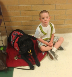 Deeds and Magpie at school
