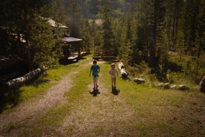 Deeds and Gwen walking at Cabin