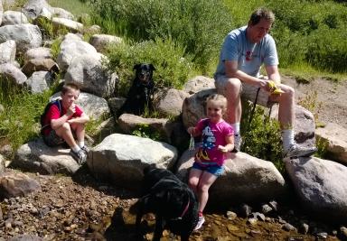 Lunch break by the creek.